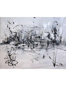 La vie en mouvement - tableau noir et blanc