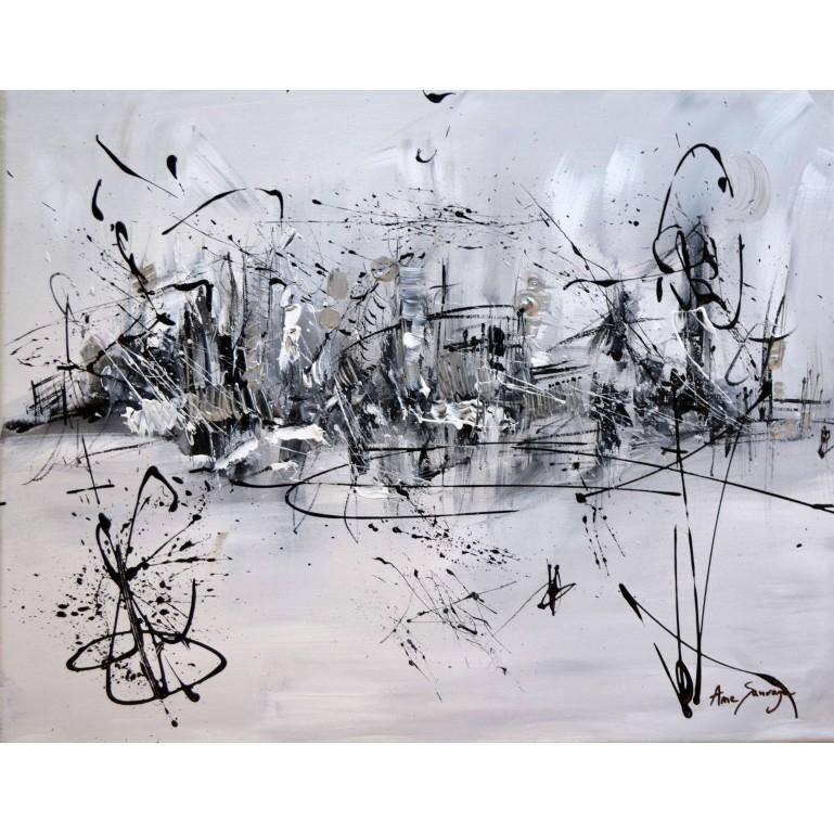 tableau noir et blanc abstrait