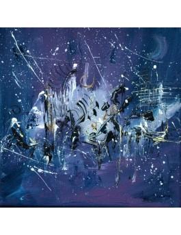 Près des étoiles - tableau abstrait violet bleu