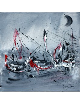 La douceur des vagues - tableau abstrait gris rouge blanc