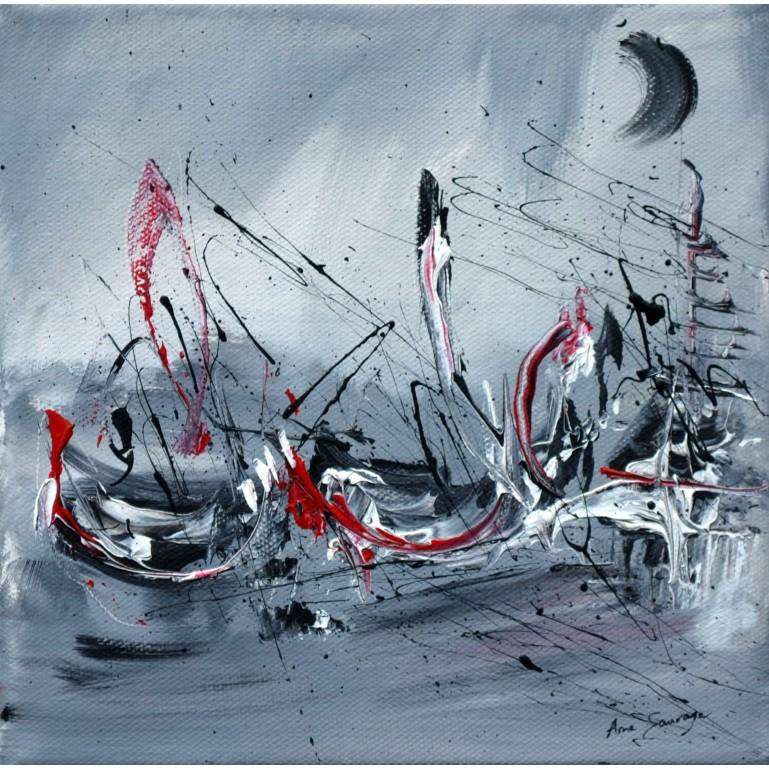 tableau abstrait gris rouge blanc