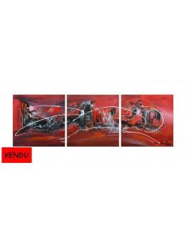 tableau triptyque rouge noir blanc moderne et design