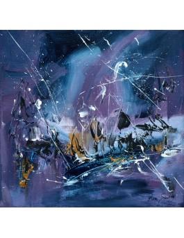 Vie stellaire - tableau abstrait bleu violet