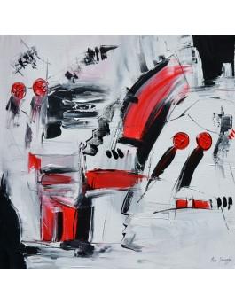 L'assise - tableau abstrait rouge noir blanc