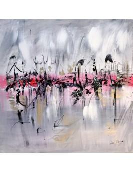 Ensemble vers l'horizon - tableau gris rouge noir blanc sur plaque de bois
