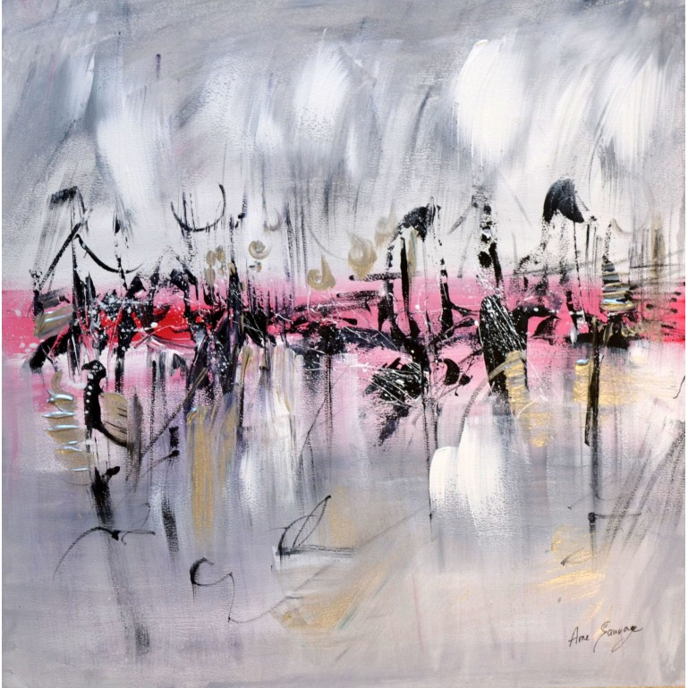 tableau gris rouge noir blanc