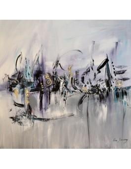 Le silence du port - tableau abstrait gris sur plaque de bois