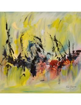 Sortie en pleine chaleur d'été - tableau abstrait jaune sur plaque de bois