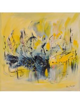 Ébullition - tableau abstrait jaune sur plaque de bois