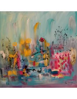 La vie au paradis des fleurs - tableau abstrait coloré sur plaque de bois