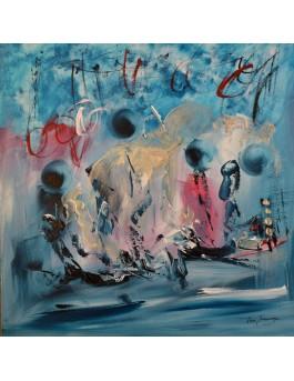 tableau moderne bleu