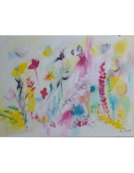 tableau abstrait fleurs