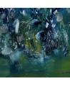 Bouquet galactique - tableau abstrait vert et bleu sur plaque de bois