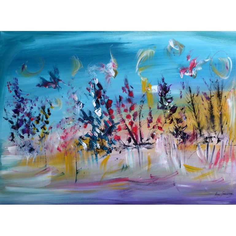 tableau abstrait floral
