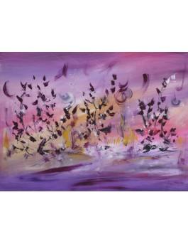 Nuée d'oiseaux - tableau abstrait violet sur plaque de bois