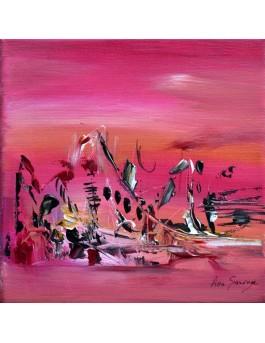 Les amoureux - tableau abstrait rose