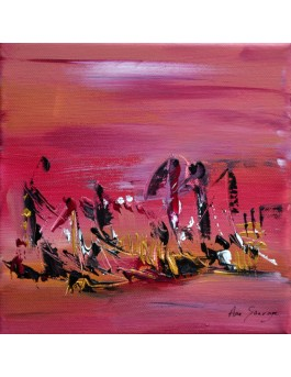 Ensemble sur les flots - tableau abstrait rose