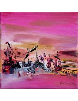 Le souffle du vent- tableau abstrait moderne rose