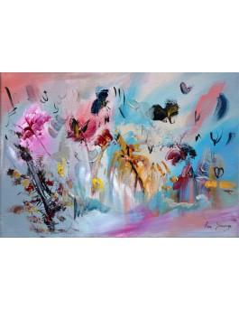 Les fleurs du bonheur - tableau abstrait de fleurs