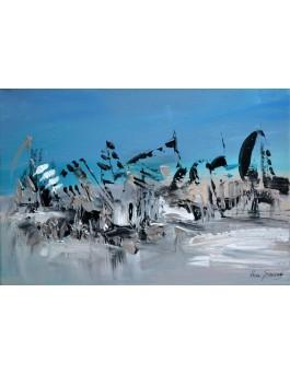La mer de glace - tableau abstrait gris et bleu