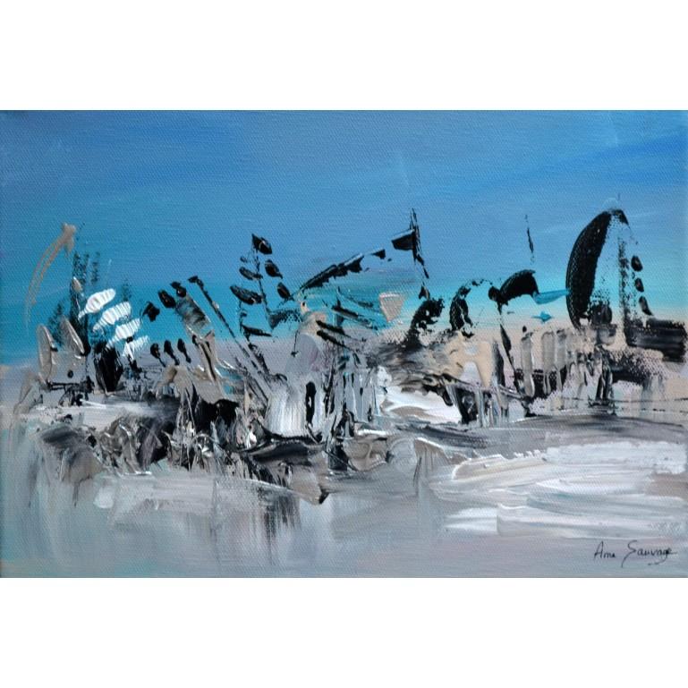 tableau abstrait gris et bleu