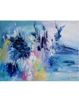 Les fleurs des neiges - peinture abstraite au couteau