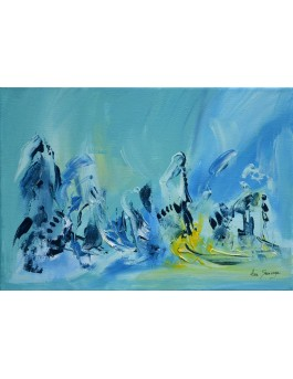 Les hommes de glace - tableau abstrait bleu jaune et vert d'eau