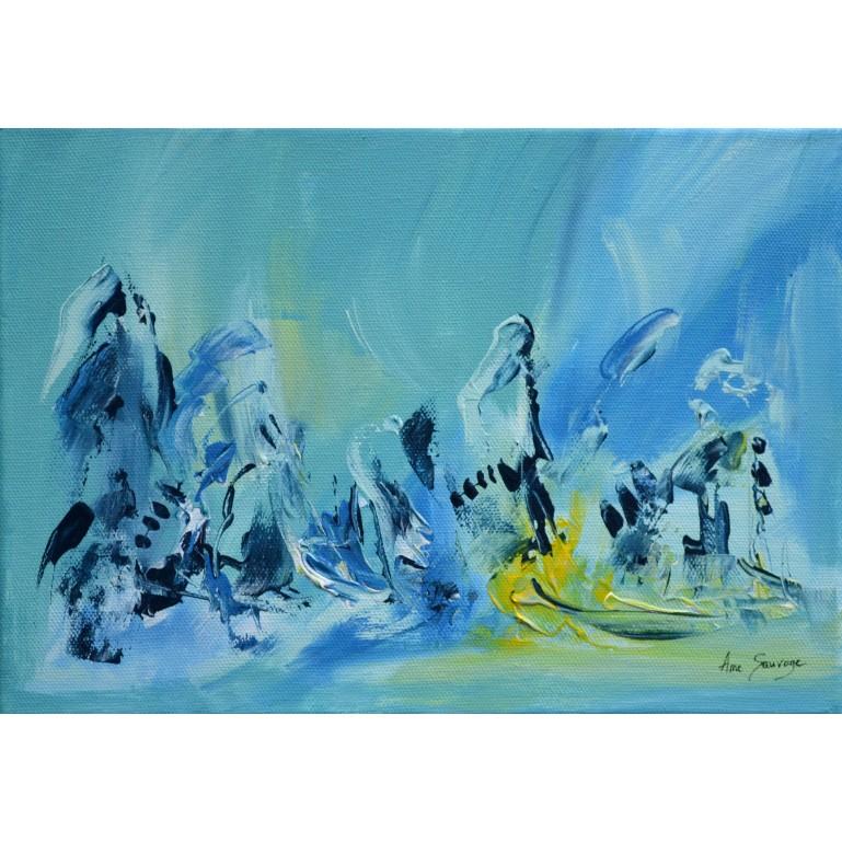 tableau abstrait bleu jaune et vert d'eau