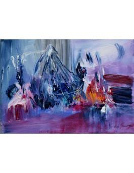 Paysage de montagne - tableau abstrait rose au couteau