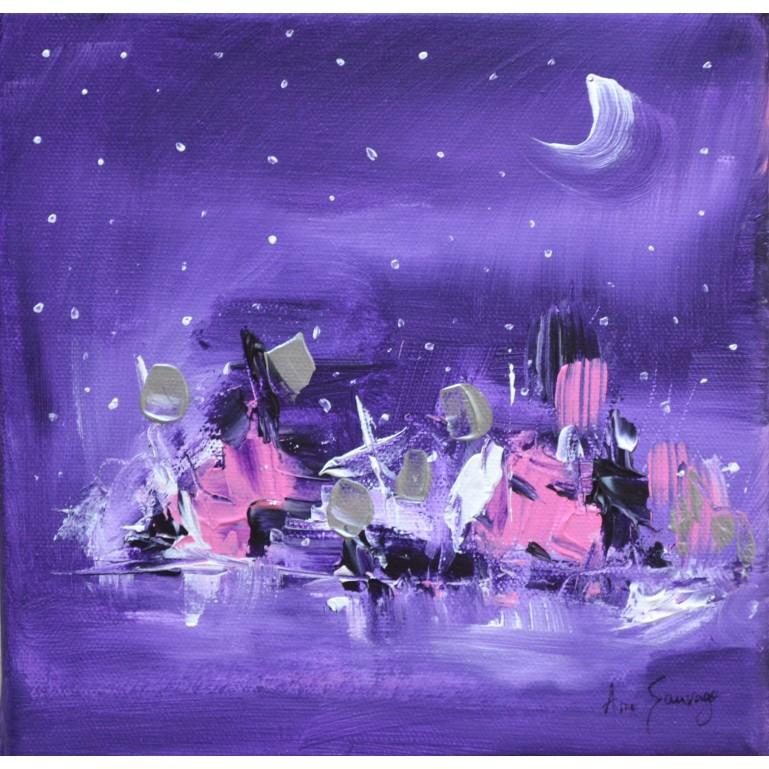Nuit d'hiver - tableau abstrait mauve et rose