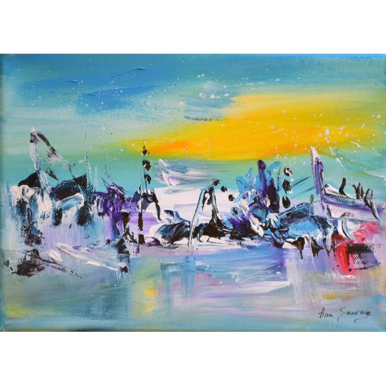 tableau abstrait bleu jaune