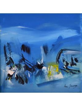 Vue du ciel - tableau abstrait bleu