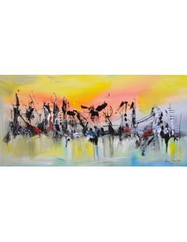 Symphonie - tableau abstrait panoramique jaune
