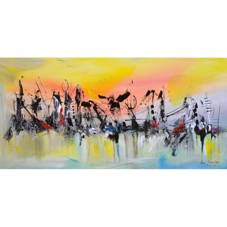 tableau abstrait panoramique jaune