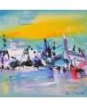 tableau abstrait bleu moderne