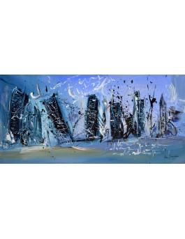 La ville en hiver - peinture abstraite urbaine