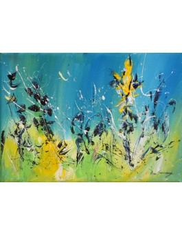 tableau abstrait vert et bleu fleurs