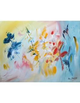 L'oiseau des fleurs - peinture abstraite fleurs au couteau sur toile