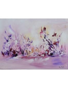tableau abstrait violet
