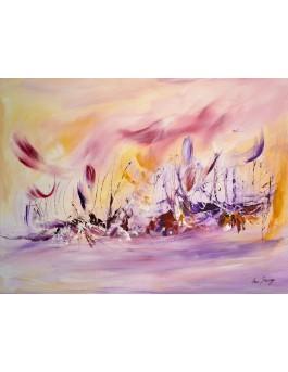 tableau abstrait violet rose
