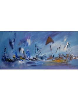 Océan arctique - tableau abstrait panoramique bleu