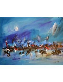 La mer au repos - tableau abstrait bleu