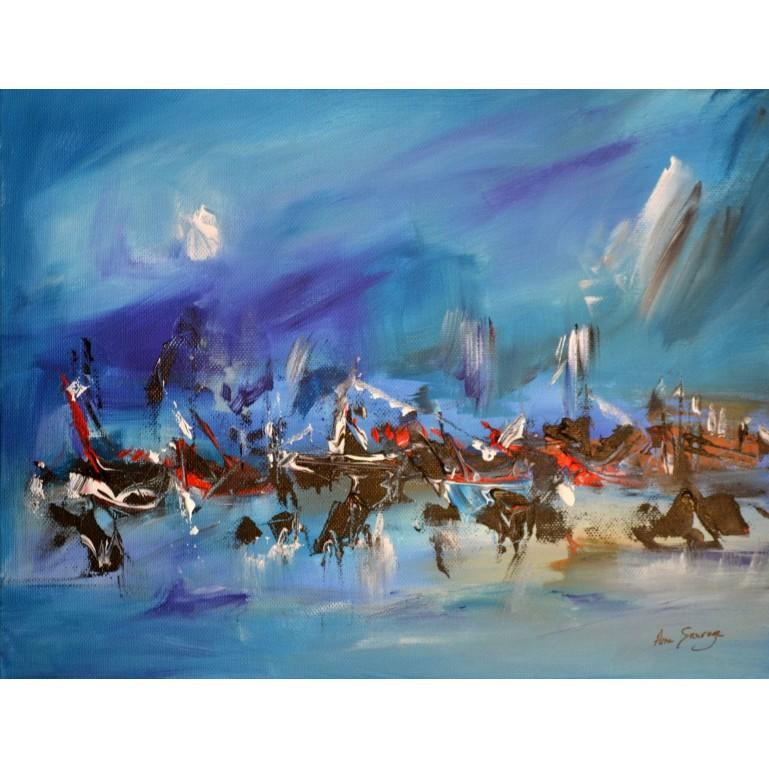 tableau abstrait bleu la mer