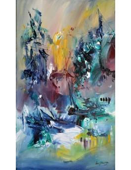 Instantané - tableau abstrait vertical au couteau à peindre