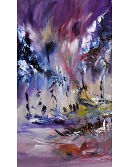 peinture abstraite verticale au couteau à peindre