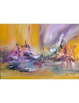 Danse sur les vagues - tableau abstrait coloré moderne
