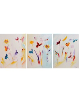 Les fleurs de l'amour  - tableau triptyque de fleurs