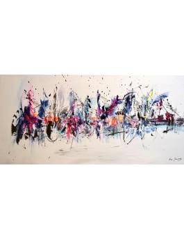 La vie est belle - tableau abstrait coloré sur fond blanc