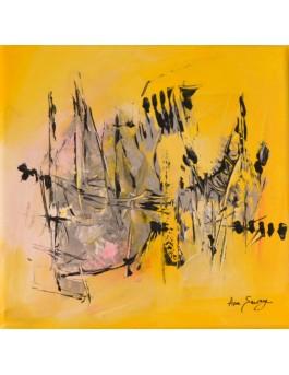 La grande voile - tableau abstrait jaune
