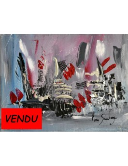 L'ile mystérieuse - tableau abstrait gris rouge moderne